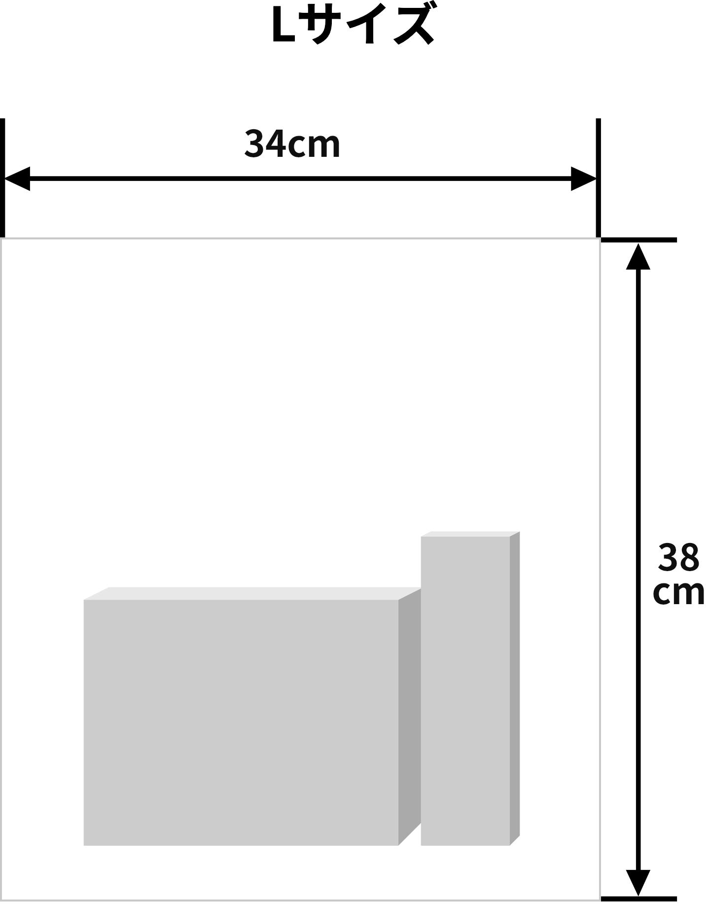 Lサイズ(横幅34cm、高さ38cm)のラッピング例(※イメージです)
