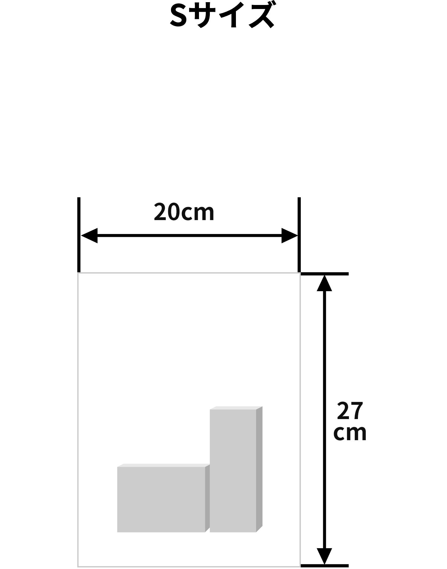 Sサイズ(横幅20cm、高さ27cm)のラッピング例(※イメージです)