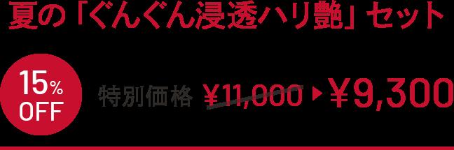 夏の「ぐんぐん浸透ハリ艶」セット 15%OFF 特別価格 ¥11,000 →¥9,300